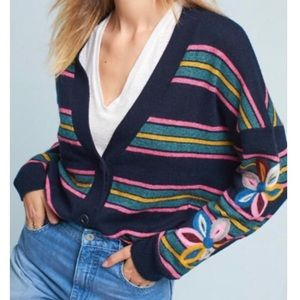 Anthropologie Navy Striped Felted Posy Cardigan